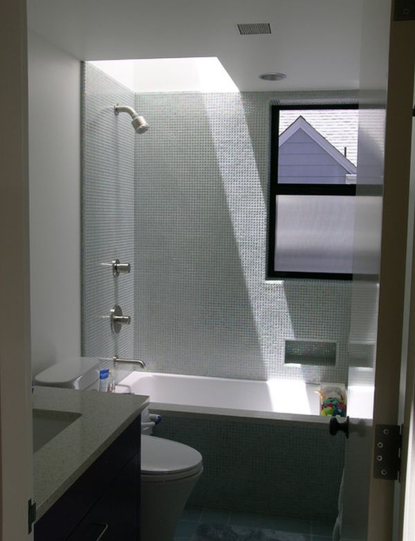 View In Gallery Compact Square Shaped Bathroom With A Tub That Doubles As Shower Unit Small