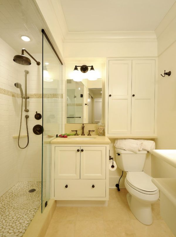 Small bathrooms with clever storage spaces for Beautiful bathrooms for small spaces