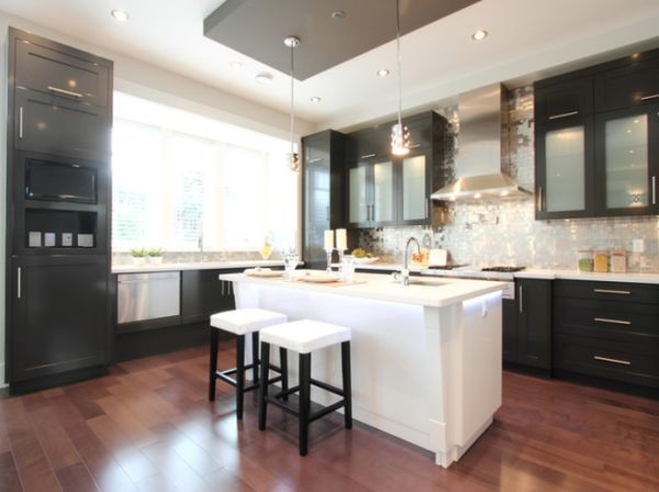 View In Gallery Contemporary Black And White Kitchen With Stainless Steel Hood