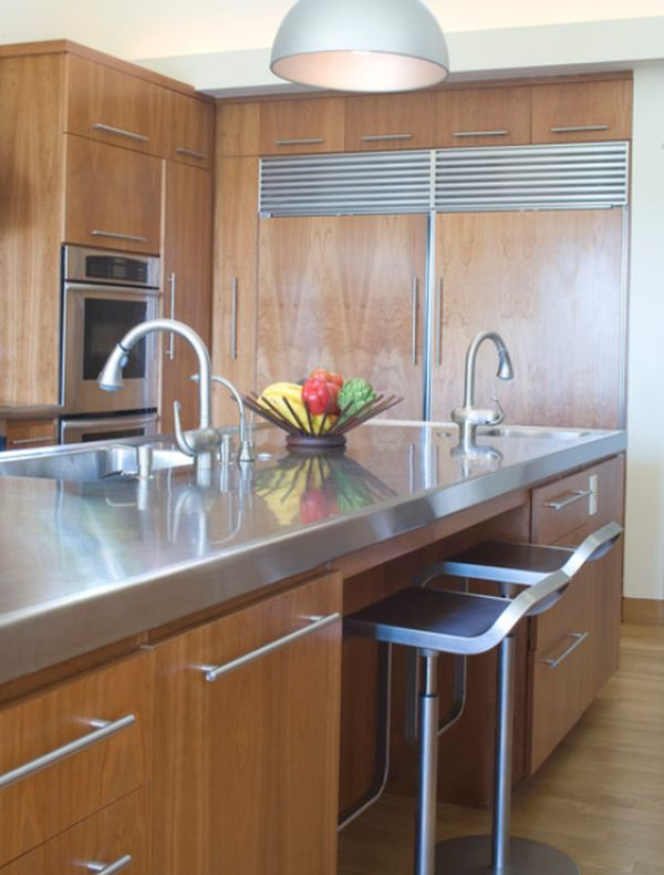 Stainless steel furniture and accessories for the kitchen for Stainless steel countertop with built in sink