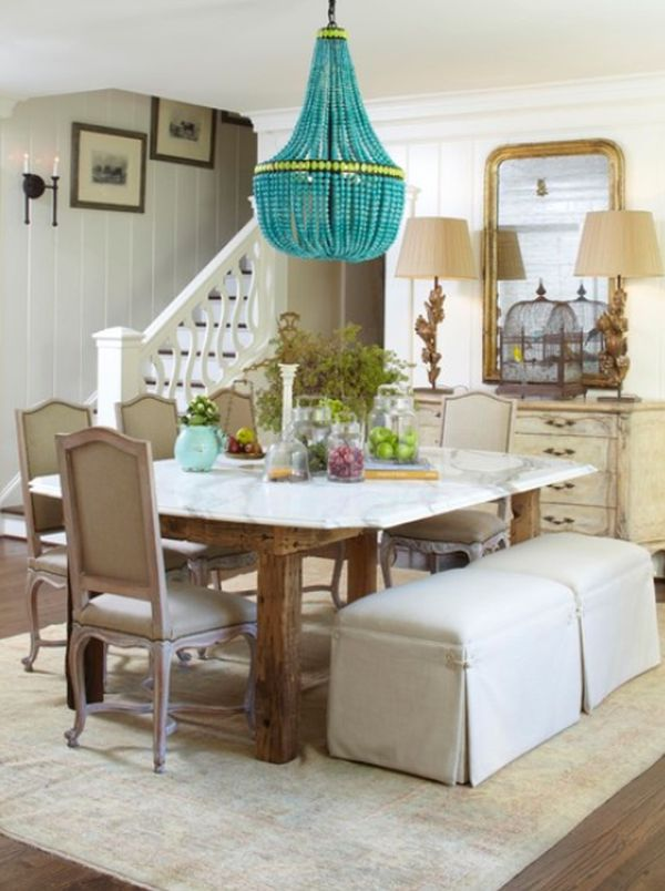 Decorate with small turquoise accessories for a big kick for Decorative dining table accessories