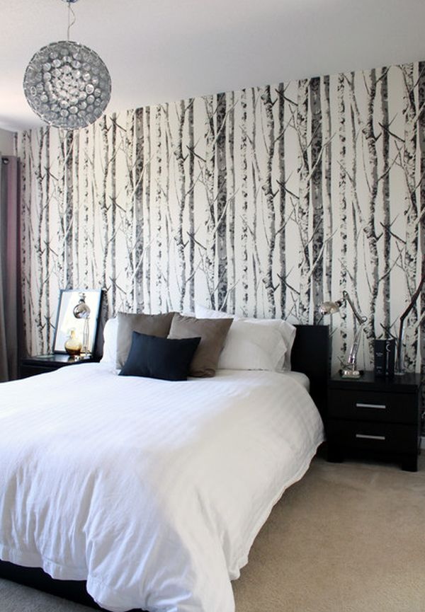 15 bedroom wallpaper ideas styles patterns and colors for Black and white wallpaper for bedroom