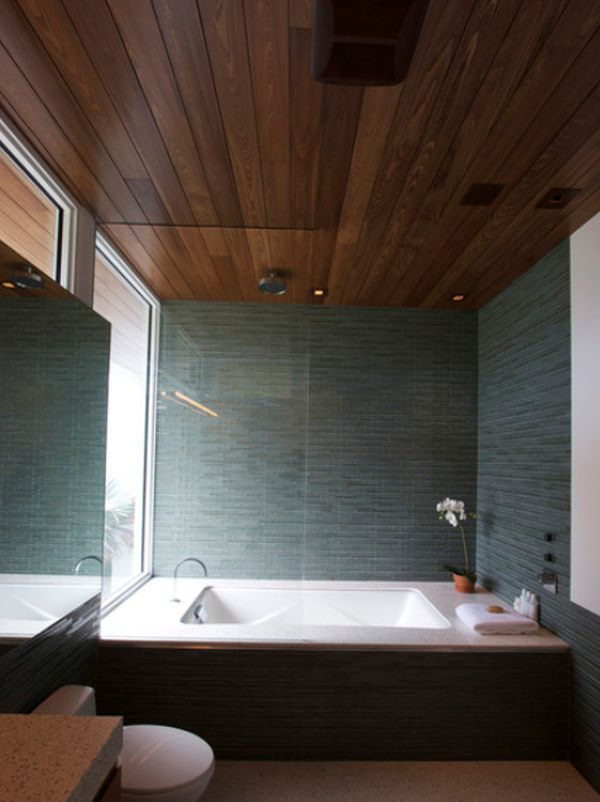 Stylish decors featuring warm rustic beautiful wood ceilings for Best paint finish for bathroom ceiling