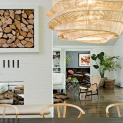 wood storage interiors over fireplace
