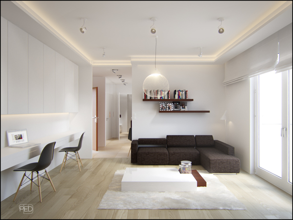 A 40 square meter flat with a clever and spacious interior for 100 sq ft room design