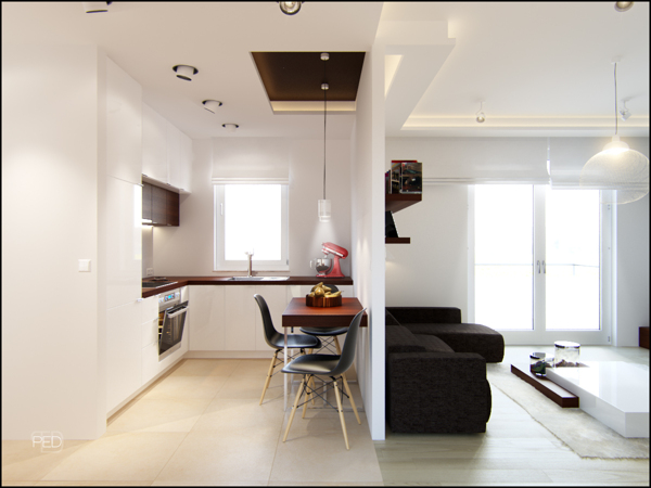A 40 square meter flat with a clever and spacious interior for Arredamenti per case piccole