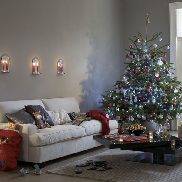 view in gallery relatively small christmas tree with white red and blue decorations