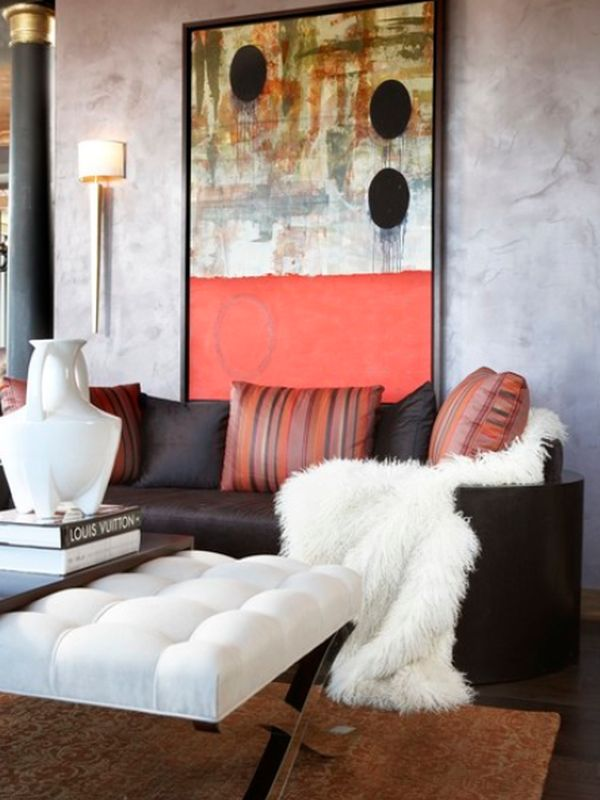 View In Gallery Living Room Featuring A Color Palette Also Concentrated An Abstract Painting