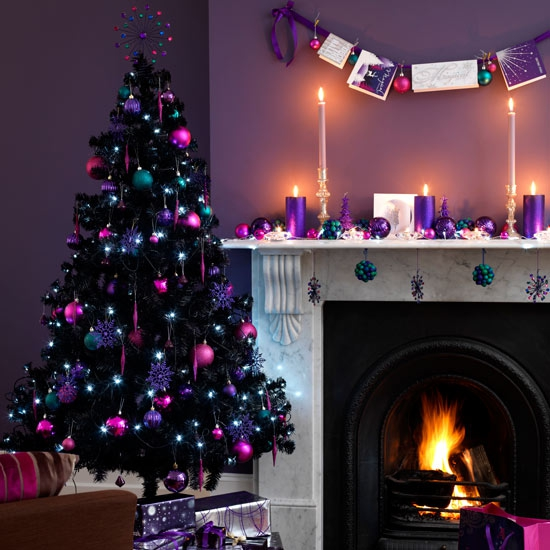 decorations contrasting christmas tree featuring purple