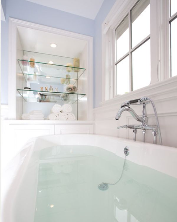 View In Gallery Traditional Bathroom Featuring Transparent Glass Shelves ...