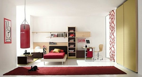 ... Boyu0027s Bedroom With Minimalist Furniture And Fun Decorations View ...