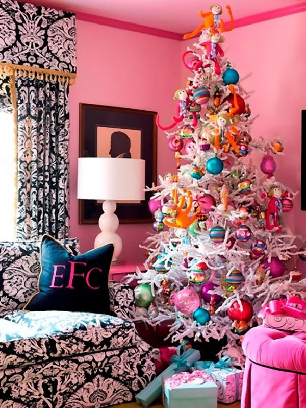 view in gallery cheerful white christmas tree with large ornaments - Pink Christmas Decorations Ideas
