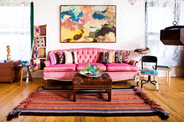 electic-living-room-pink-sofa