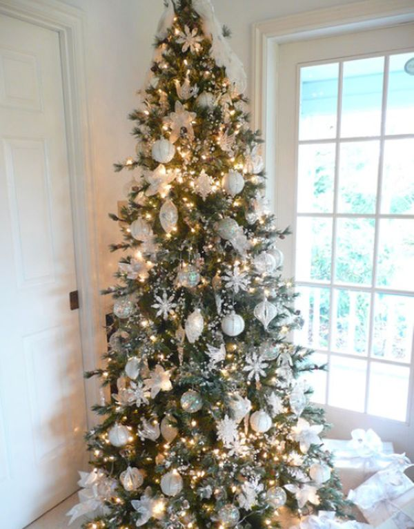 view in gallery traditional christmas tree with all white decorations and sparking lights view in gallery - White Christmas Tree Decoration Ideas