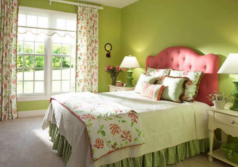 decorating a mint green bedroom ideas inspiration 19454 | green bedroom walls and pink headboard