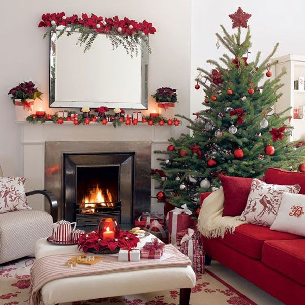 christmas tree with columns of white red and green ornaments view - White Christmas Tree With Red Decorations