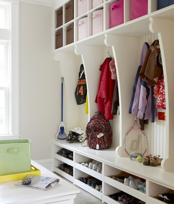 kids mudroom organized