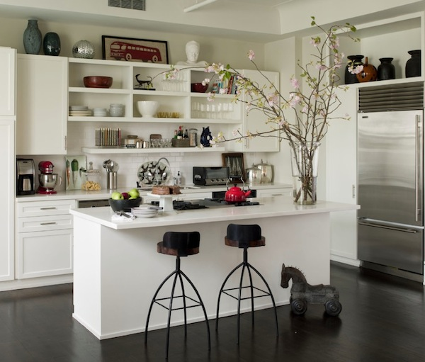 kitchen open shelving over cabinets