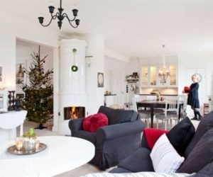 A small Nordic-inspired villa with a warm, Christmassy décor