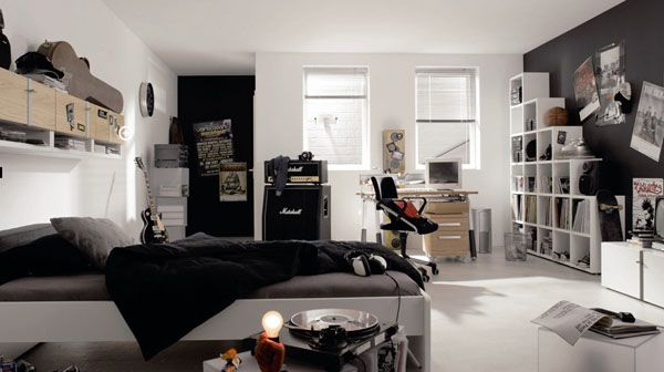 ... View in gallery Spacious black and white teenager's bedroom featuring  ...