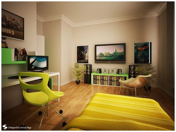 teenage room with a lot of space view in gallery