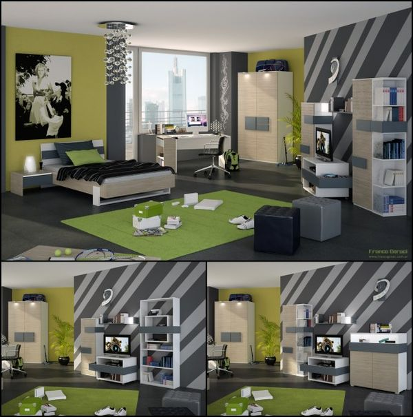 ... Boyu0027s Bedroom With Cozy Interior And Sports Related Decorations View In  Gallery Green Teenage ...
