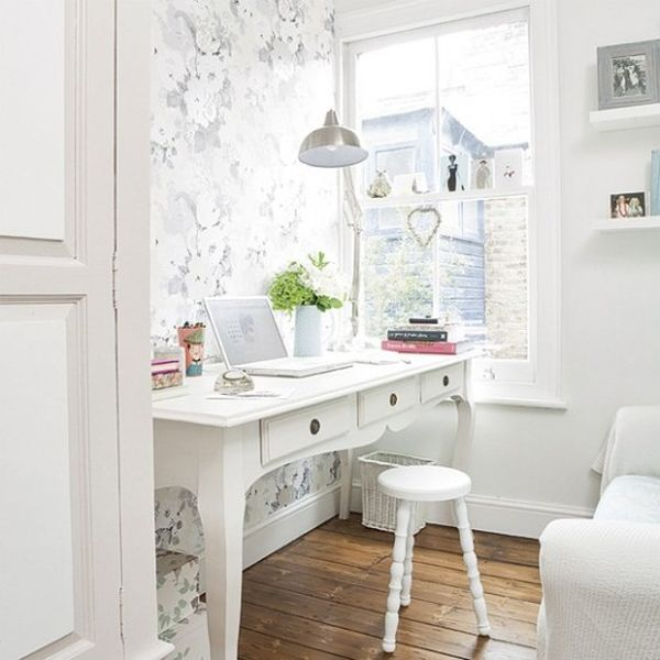 Decorating a bright white office ideas inspiration for How to decorate home office
