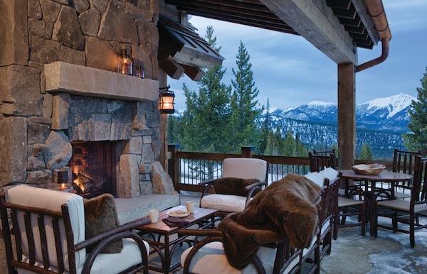 winter patio fireplace