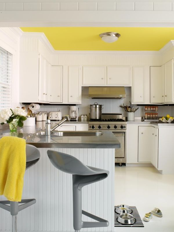 yellow-ceiling Contempary Wall Decorating Ideas Yellow Kitchen on yellow kitchen wall colors, yellow kitchen design ideas, yellow kitchen decor,