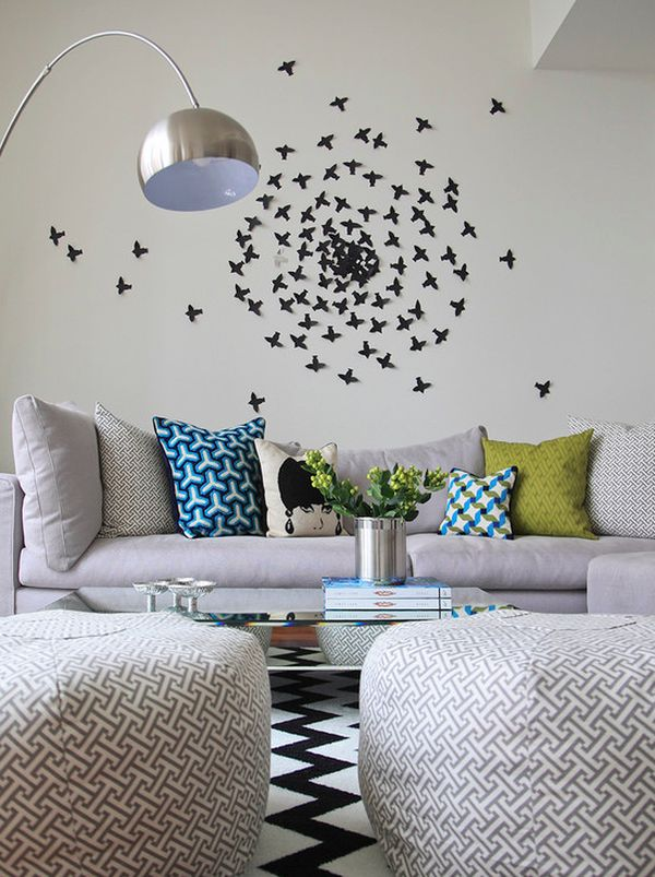 Geometry In This Space Is Balanced By The Free Form Wall Mural Of Birds In  Flight. Great Pictures