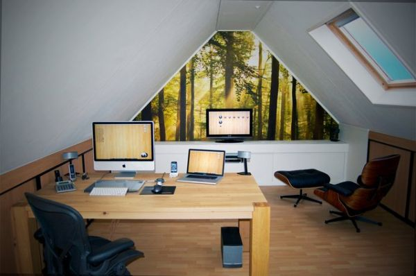 30 cozy attic home office design ideas. Black Bedroom Furniture Sets. Home Design Ideas