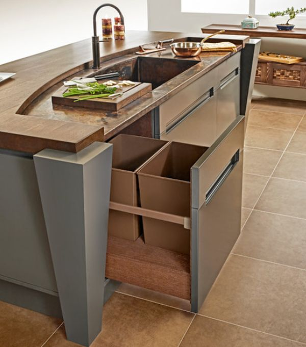 Kitchen Island With Trash Pull Out