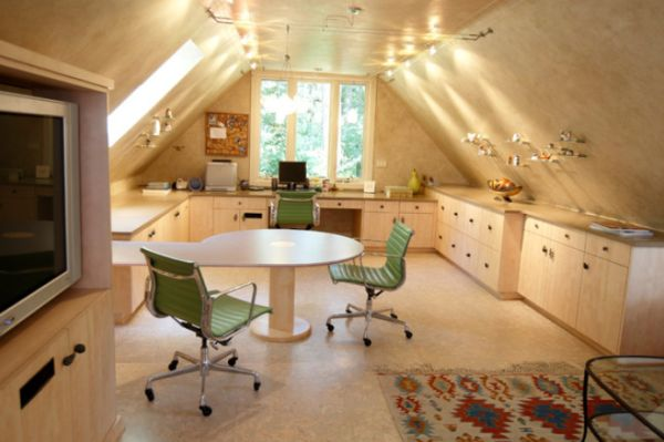 View In Gallery Contemporary Attic Home Office With A Single Window And Sloped  Ceiling