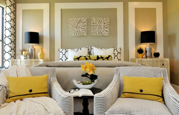 View In Gallery Contemporary Master Bedroom Featuring Abstract But Chic Wall Decorations