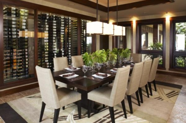 Wine storage for modern dining rooms for Large dining room decorating ideas
