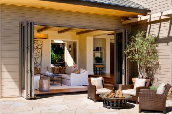 Open up your living room with folding patio doors for Full open patio doors
