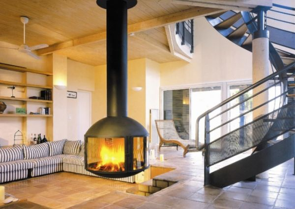 View In Gallery Modern Living Room Featuring A Hanging Fireplace ...