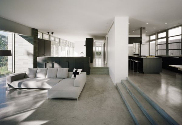 Concrete floors both a statement and a functional choice for Concrete floor living room ideas