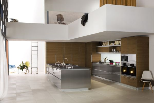 ... View In Gallery Open Kitchen Interior With A Stainless Steel Island And High  Ceilings