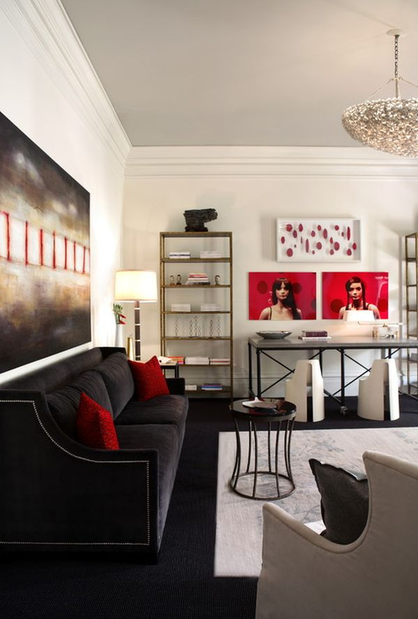 Decorating with red grey ideas inspiration for Black red living room decorating ideas