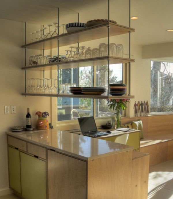 Modern Kitchen Shelves Mesmerizing Double White Sink Below Window In Modern Kitchen With Glass