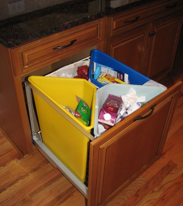 Kitchen pull out trash bins both functional and aesthetical - Small pull out trash can ...