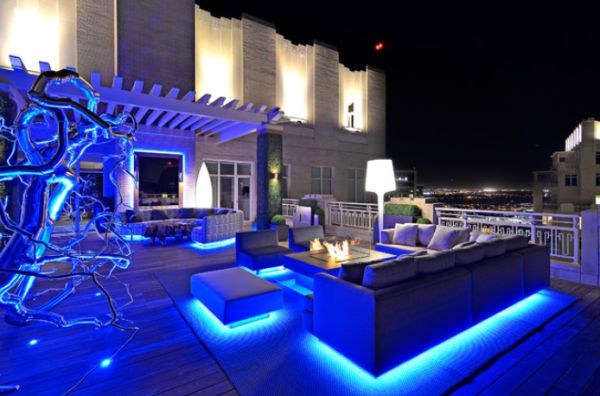 Modern Rooftop Garden Featuring Very Bright LED Lighting ...
