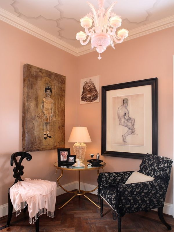 Pink living rooms ideas that are not overbearing for Pink living room wallpaper