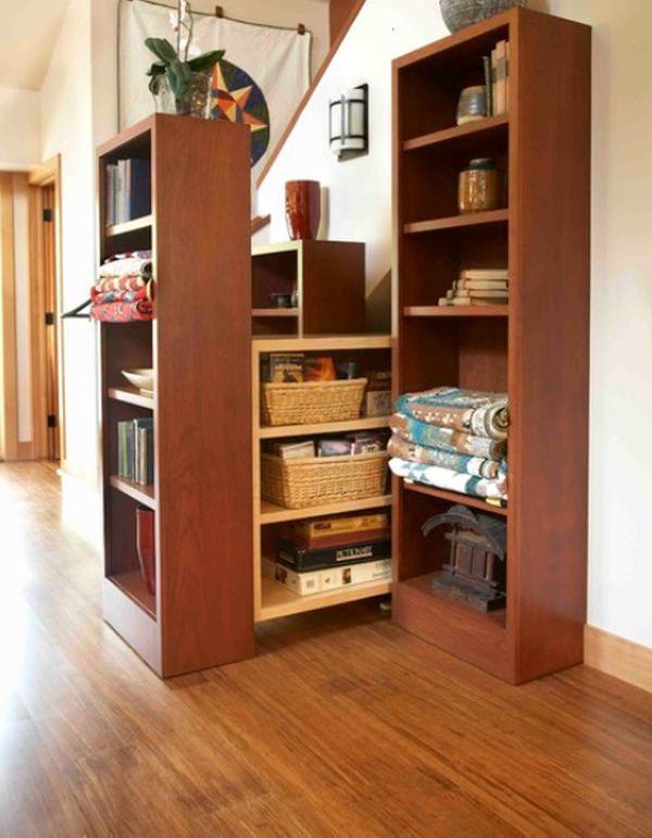 ingenious under stair shelving.  19 Unexpected versatile and very practical pull out shelf storage ideas