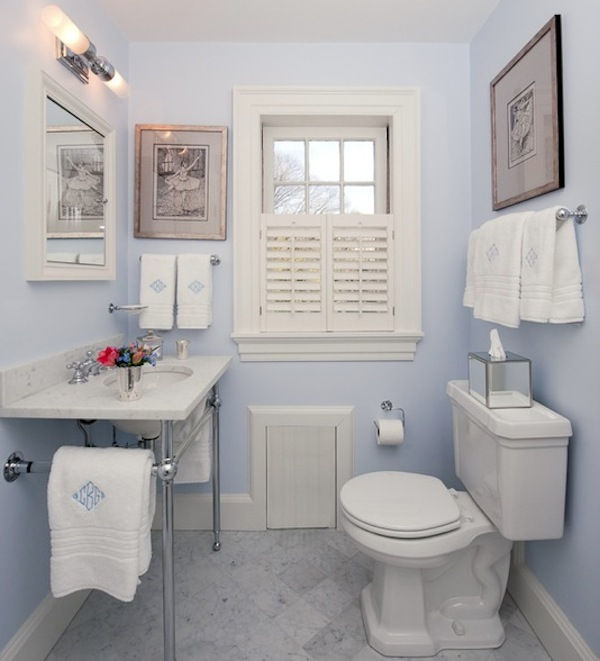 Marvelous Small Bathroom Light Blue Color