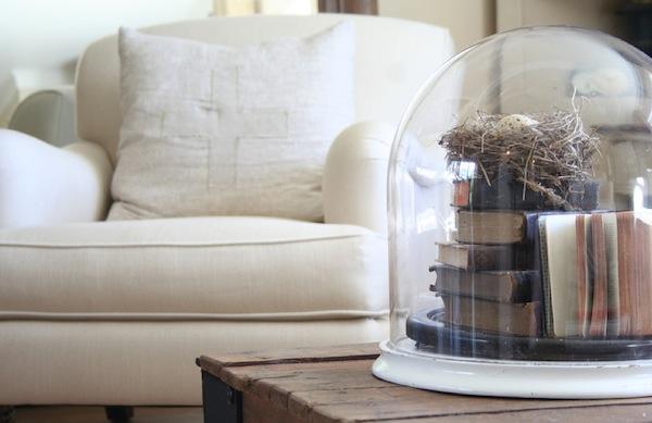 spring inspired nest under glass