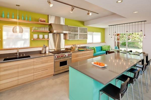 türkisfarbene Küche