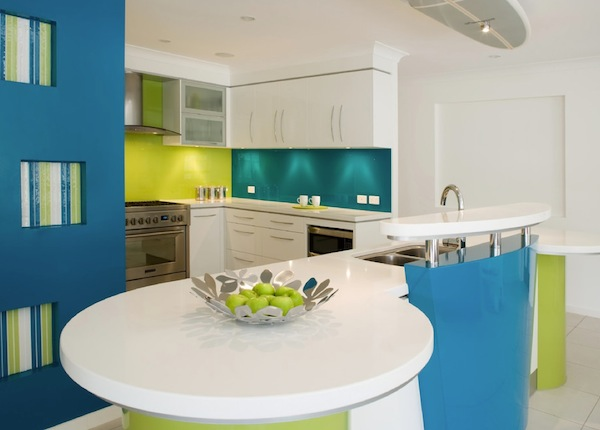 turquoise lime green kitchen