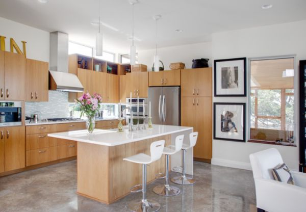 View In Gallery Bright And Airy Kitchen With Concrete Floors . Photo Gallery